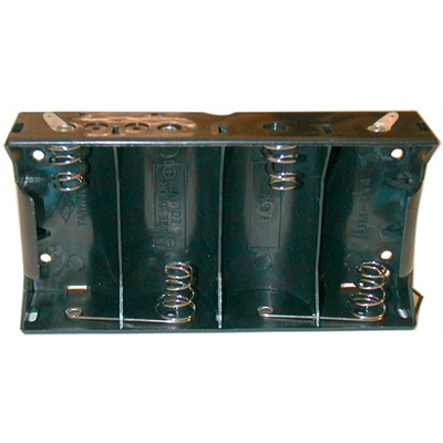 D Battery Holder - 4 Cells, Solder Terminals