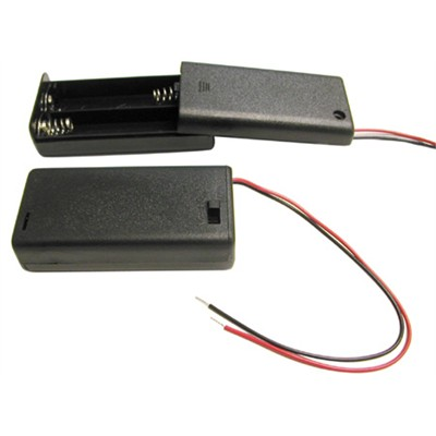 AA Battery Holder - 2 Cells, Enclosed Switch with Wire Leads