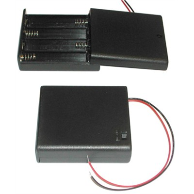 AA Battery Holder - 4 Cells, Enclosed Switch with Wire Leads