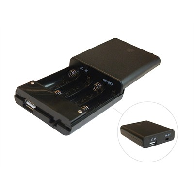 AA Battery Holder - 4 Cells, with On-Off Switch, USB Port