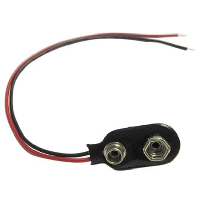 "9V Battery Clip ""I"" - 24 AWG Wire Leads, Pkg/10"