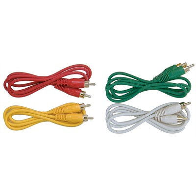 RCA Plug to RCA Plug Cable - Nickel, 3ft, Pkg/4 colors
