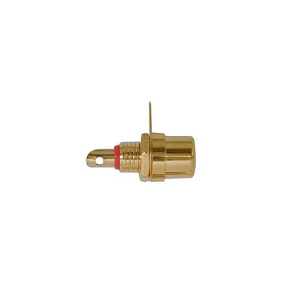 RCA Jack Chassis - Gold plated, Red Insert, Pkg/10