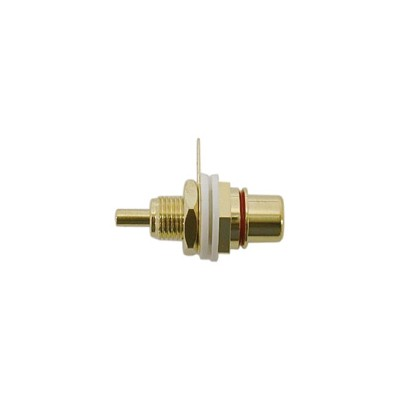 RCA Jack Chassis - Gold plated / Isolation washers, Red, Pkg/10