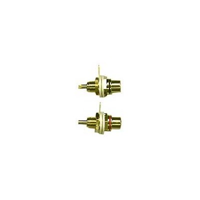 RCA Jack Chassis - Gold plated / Isolation washers, Red & Black, Pkg/2