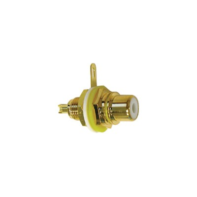 RCA Jack Chassis - Gold plated / Isolation washers, Yellow, Pkg/10