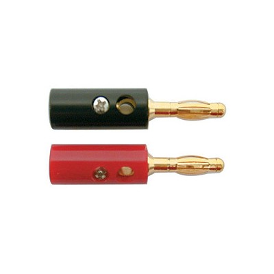 Banana Plugs, 12AWG - Gold/Black & Red plastic, Pkg/2
