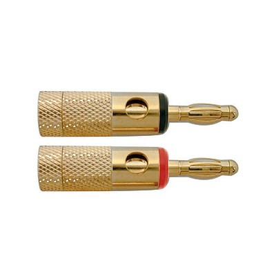 Banana Plugs, Heavy duty 8AWG - Gold/Black & Red, Pkg/2