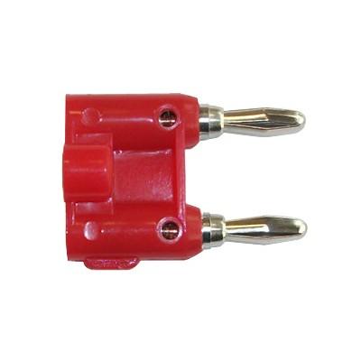 Dual Banana Plug 14AWG - Nickel/Red plastic