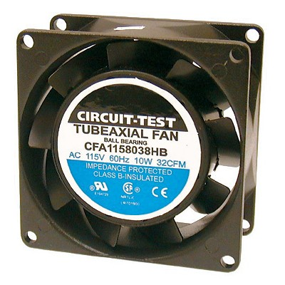 Fan 115VAC, 80mm x 38mm, 32 CFM, Ball bearing