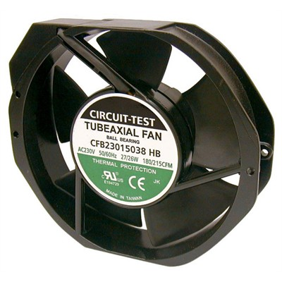 Fan 230VAC, 150mm x 38mm, 177/212 CFM, Ball bearing