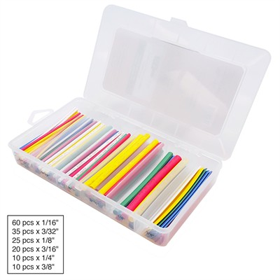 Heat Shrink Kit, 2:1 Color, 160 Pieces