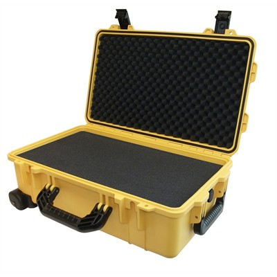 "IBEX Protective Case 1800 with foam, 21 x 14 x 8.8"", Yellow, with Wheels"
