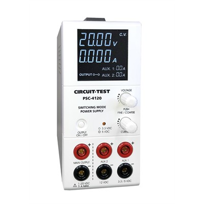 Triple Output - Switching (20VDC/5A,  Fixed 3.3 or 5VDC@1.8A & 12VDC@0.8A), Remote Programmable