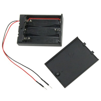 AA Battery Holder - 3 Cells, Enclosed Switch with Wired Breadboard Pins