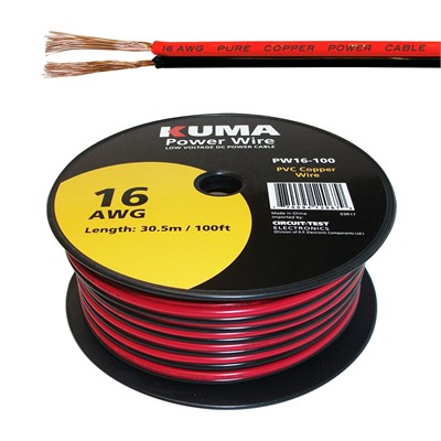 Low Voltage DC Power Cable, 16AWG, 100ft Roll