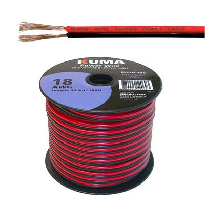 Low Voltage DC Power Cable, 18AWG, 100ft Roll